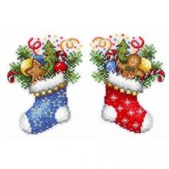 Cross Stitch Kit CHRISTMAS SOCK R-496 on plastic canvas