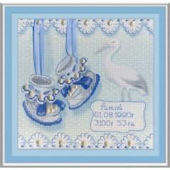 Cross stitch kit Baby Shoes Birth Sampler (Boy) RK-314
