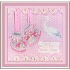 Cross stitch kit Baby Shoes Birth Sampler (Girl) RK-315