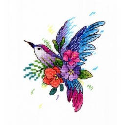 Cross Stitch Kit Bird Of Paradise V-256 with water-soluble canvas