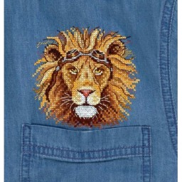 Cross Stitch Kit King Of The Road V-258 with water-soluble canvas