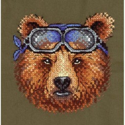 Cross Stitch Kit Racer V-259 with water-soluble canvas