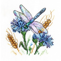 Cross Stitch Kit Cornflower Aroma V-530 with water-soluble canvas