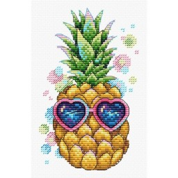 Cross Stitch Kit Sunny Pineapple V-533 with water-soluble canvas