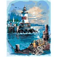 PAINT BY NUMBERS KIT A quiet harbor 40 x 50 cm КНО2724 Framed