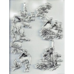 1 pcs 11.3*15.56cm Transparent Silicone Rubber Clear Stamps Scrapbooking Birds