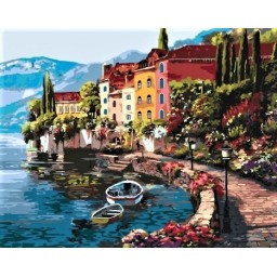 PAINT BY NUMBERS KIT Morning by the lake 40 x 50 cm КНО3503 Framed