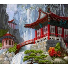 Cross Stitch Kit A Waterfall and Pagoda B-12