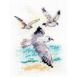 Cross Stitch Kit Wind from the sea. Seagulls art. 0-221