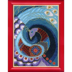 Cross Stitch Kit with threads and beads Blue bird of happiness BT-1019