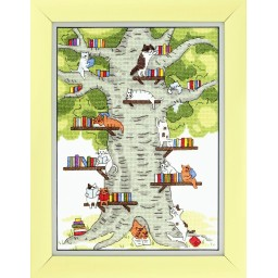 Cross Stitch Kit Library in the forest (cats) BT-236