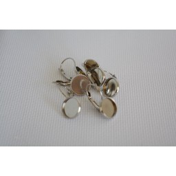 4 pcs 12mm Classic Color Series French Lever Back Earrings Blank Base Rhodium color art. 302