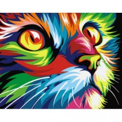 PAINT BY NUMBERS KIT RAINBOW CAT T16130008 Size: 16.5 x 13 cm.
