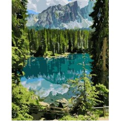 PAINT BY NUMBERS KIT Mysterious lake 40 x 50 cm КНО2270 Framed